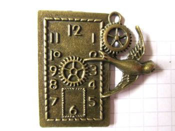 Bronze CLOCK Pendant/Charm with Swallow.  Steampunk